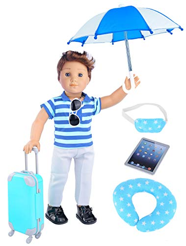 ebuddy Boy Travel Suitcase With Doll Clothes 9pc/Set for 18 inch American...