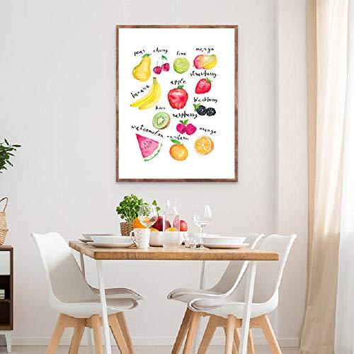 Levensmiddelkunst, bedrukt, aquarel-fruit, keukendecoratie, gezonde voeding, fruit, kunstlinnen, wanddecoratie, 60 x 90 cm, zonder lijst