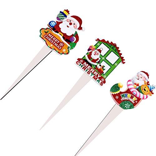 Wakauto 3 Piezas de Estaca de Jardín de Navidad Etiquetas Decorativas para Macetas de Navidad Tarjeta Insertada en Maceta Adorno de Pastel para Decoraciones Navideñas de Navidad (Estilo