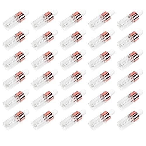 PIXNOR 30 Botellas Cuentagotas de 3Ml Botellas de Aceites Esenciales de Vidrio Transparente con Cuentagotas Botellas de Tintura Recargables Vacías Frascos de Muestra de Perfume para