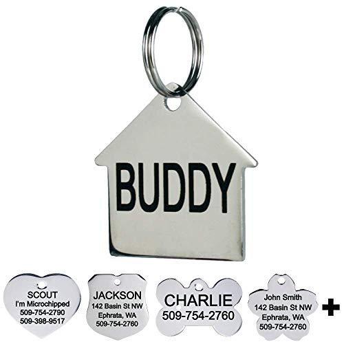 GoTags Pet ID Personalized Dog and Cat Tags. Stainless Steel. Custom Engraved with up to 8 Lines of Text. Front and Backside Engraving. House Shape Regular.
