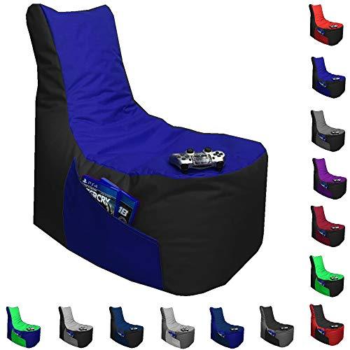 Sitzsack Big Gamer Lounge Ø 80cm Sessel mit EPS Sytropor Füllung In & Outdoor Erwachsene Riesensitzsack Sitzsäcke Sessel Kissen Sofa Sitzkissen Bodenkissen Gaming (Schwarz + Blau)