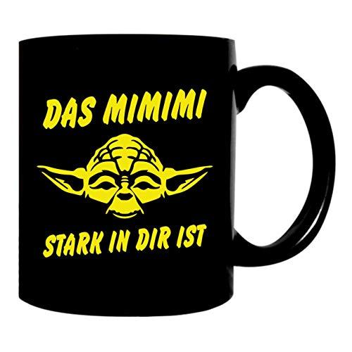 Kaffeetasse schwarz 300ml große Tasse bedruckt Das MIMIMI stark in dir ist