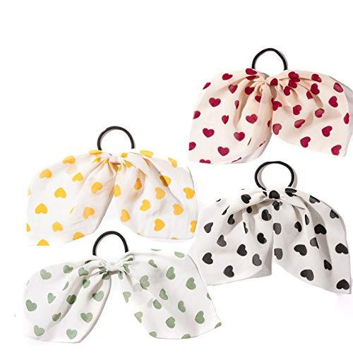 Ushiny - Elastico per capelli a forma di cuore, in chiffon, per donne e ragazze (4 pezzi)