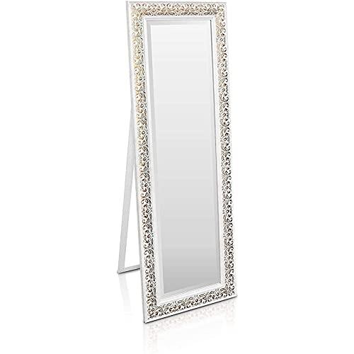 Mdlucz Antiguo Espejo Elegante de 130 x 45 cm Gran Espejo de pie francés de Estilo francés Grande y Dorado