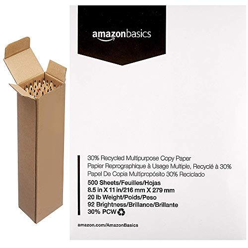 AmazonBasics 30% Recycled Multipurpose Copy Printer Paper - 8.5 x 11 Inches, 1 Ream (500 Sheets) with Pre-sharpened Wood Cased #2 HB Pencils, 30 Pack