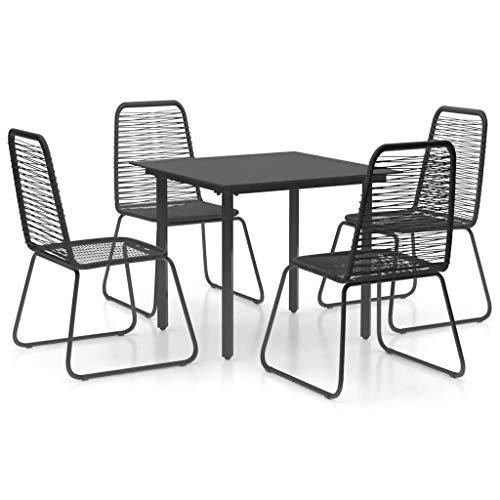 vidaXL 5 Piece Garden Dining Set PVC Rattan Black