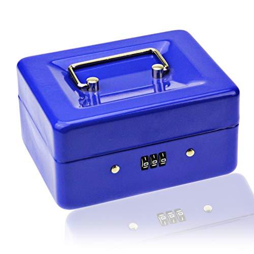 Caja pequeña con cerradura de combinación - Caja de metal duradera con bandeja de dinero, 15 × 12 × 8 cm (azul, pequeño)