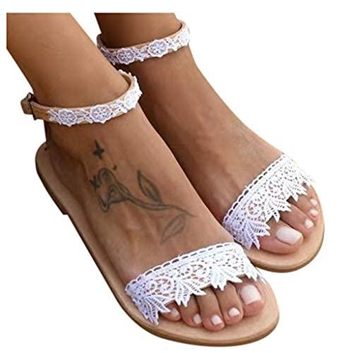 Sandalias planas para mujer, cómodas, para verano, con puntera plana, sandalias romanas, casuales, para playa, zapatos planos