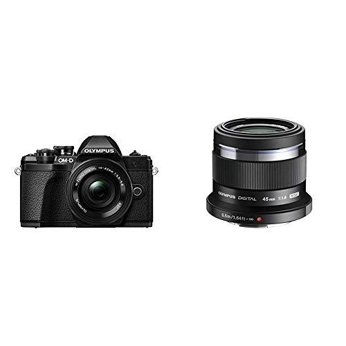 Olympus E-M10 Mark III Fotocamera con Obiettivo Pancake, Nero + Olympus V311030BE000 M.Zuiko Digital Obiettivo 45mm 1:1.8, Micro Quattro Terzi, per Fotocamere OM-D e PEN, Nero