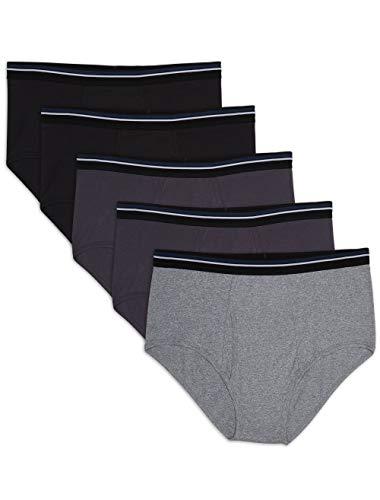 Amazon Essentials Men's Big & Tall 5-Pack Tag-Free Briefs Underwear, -Black/Heather Gray, 4XL