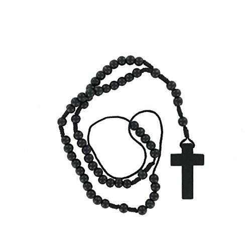 Bonfim Sonderposten - Rosenkranz Halskette schwarz Männer und Frauen. Klassischer Rosenkranz zum Beten mit Kreuz. Rosenkranz Kette Holz ca. 36 cm. Auch Rosenkranz Auto zum Superpreis!