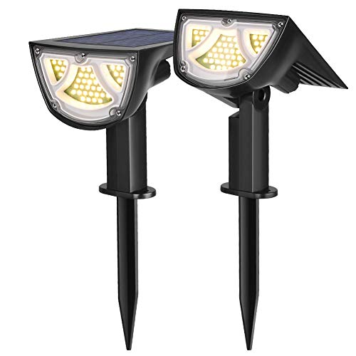 43 LEDs Solar Landscape Spotlights Waterproof Outdoor Solar Powered Wall Lights Auto On/Off Wireless Landscaping Lights for Yard Garden Walkway Pool Patio 2 Pack