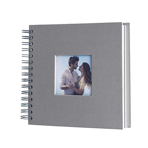 8 x 8 Inch Small DIY Scrapbook Photo Album with Cover Photo 80 Pages Hardcover Craft Paper Photo Album for Guest Book, Anniversary, Valentines Day Gifts (Gray, 8 x 8 inch)