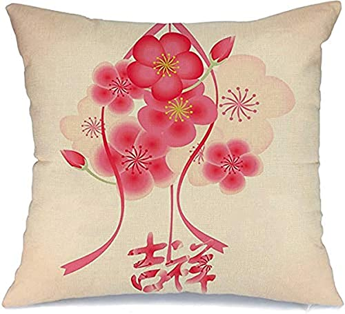 BONRI Funda de almohada decorativa de poliéster, diseño de flores, diseño lunar, bendición, riqueza asiática, primavera, Año Nuevo, vacaciones orientales, color rojo (45 x 45 cm)