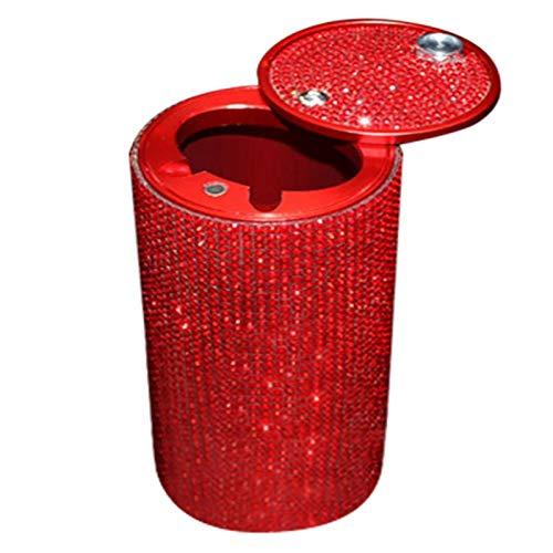 Withou Desktop Basura Can Rhinestone Cenicero Cenicero y Multifunción Cubiertas de Moda para automóviles Accesorios para automóviles, Adecuado para Familia, Cocina. (Color : Red)