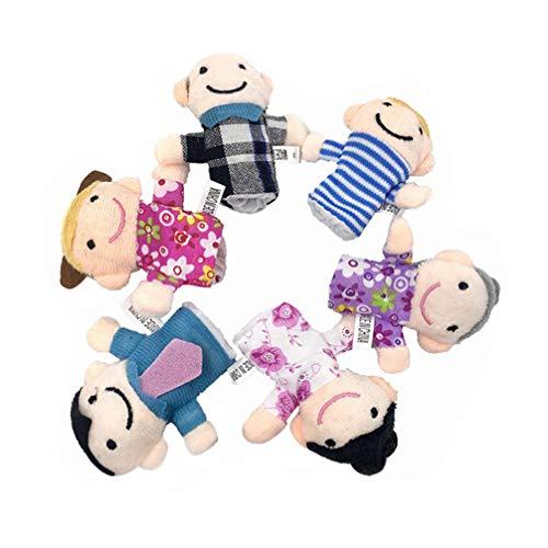 jojofuny 6 Unidades de Marionetas de Dedos para Niños Pequeños Juego de Guantes de Tela para Pulgar de Dibujos Animados de Miembros de La Familia Juguete Educativo Temprano para Niños
