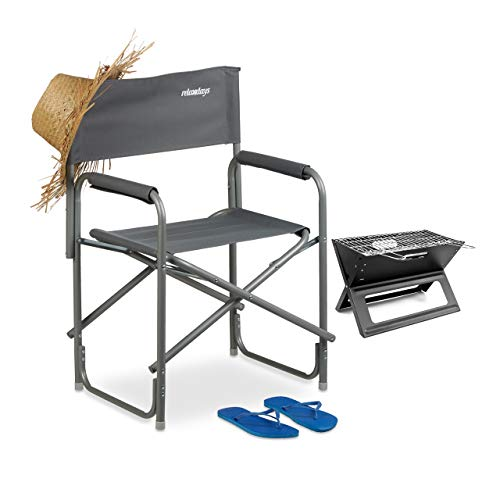 Relaxdays Silla Director Plegable para Maquillaje, Camping y Pesca, Aluminio, Gris, 85 X 56 X 45 cm