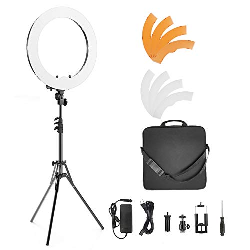 IVISII Ring Light 18 inch 55W 5500K Dimmable with Stand and Phone Holder & Ball Head for Makeup, Live Streaming, YouTube, Vlog, Photography with Phones, Camera, Tablets