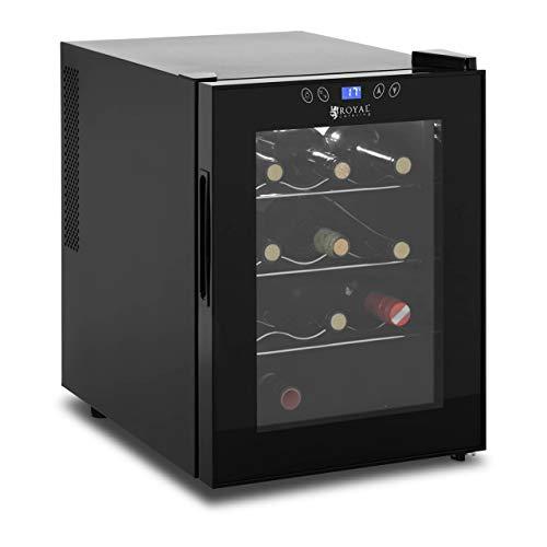 Royal Catering Nevera Para Vinos Refrigerador Vinoteca RCWI-33L (Negro, Volumen total: 33 L, Rango de temperatura: 11-18 °C, Para 12 botellas)
