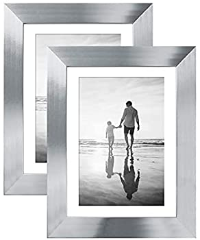 Americanflat 5x7 Picture Frame in Silver - Displays 4x6 With Mat and 5x7 Without Mat - Composite Wood with Polished Glass - Horizontal and Vertical Formats for Wall and Tabletop - Pack of 2