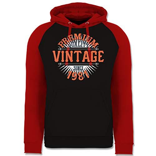 Shirtracer Geburtstag - 40. Geburtstag Vintage 1981 - XL - Schwarz/Rot - Jahreszahl - JH009 - Baseball Hoodie