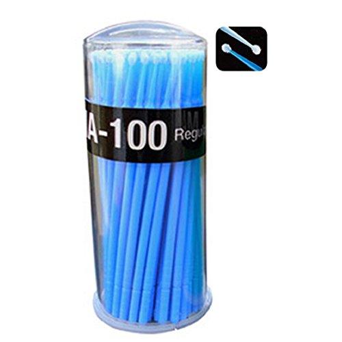DAEDALUS® Lot de 100 mini pinceaux applicateurs jetables pour extensions de cils (bleu)