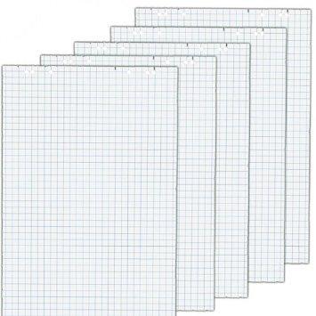 5x Flipchartblöcke, Weiss kariert, je Block 20 Blatt 69x99 cm, 6 fach Lochung, perforiert, Papier für Flipchart (5 Flipchartblöcke, Kariert)