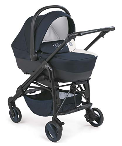 CAM 3 in 1 Kombi-Kinderwagen COMBI TRIS | inkl. Babyschale, Babywanne, Sportwagen, Körbchen und Tasche | Der Allrounder made in Italy: praktisch, komfortabel und sicher (Stella tortora)