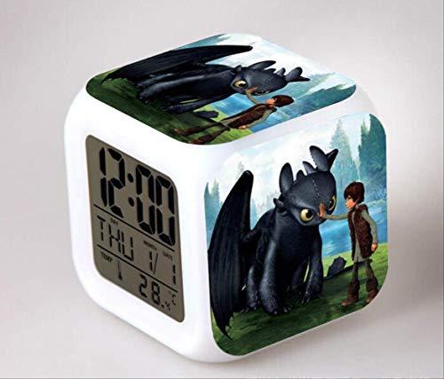 HHIAK666 Dragon Master Wecker, 7 Farbe Farbe Wechsel Stimmung Wecker, Kreative Geschenk Led Quad-Uhr 8Cm 10