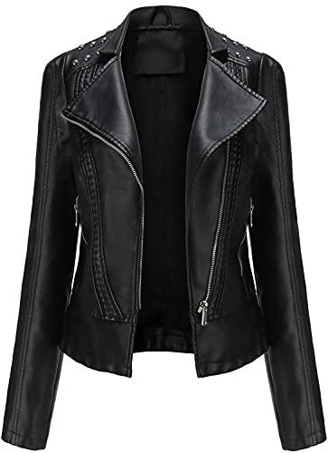E-Qianw Chaquetas De Piel Sintética De Las Mujeres Zipper Moto Biker Breve Slim Abrigo Outwear,Negro,S