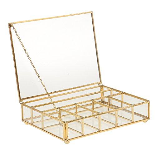 Caja de Cristal Cuadrada Geométrica Moderna de Torrecilla con Marco de Metal Robusto 7 Rejillas de DIY para Planta/Flor/Planta Grasa - Cobre, 20 x 15 x 5cm