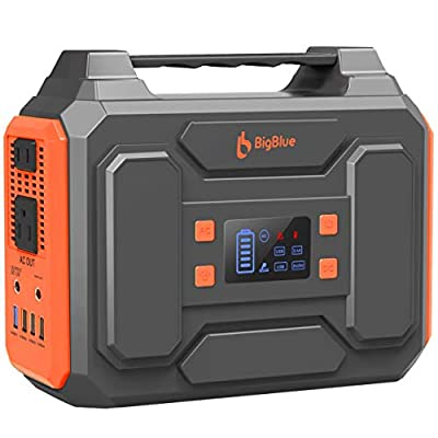 250Wh Power Station, BigBlue 67500mAh Portable Electrical Generator with 110V Pure Sine Wave AC Outlets/2 DC/4 USB Ports, Fast Charge,CPAP Backup Battery with Flashlight for Camping, RV, Emergency