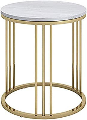HXH Furniture/Metal Round Table,Nordic Marble Side Table Round Coffee Table Living Room & Bedroom Side Cabinet Gold FF (Size : 40x55cm) (Size : 50x55cm)