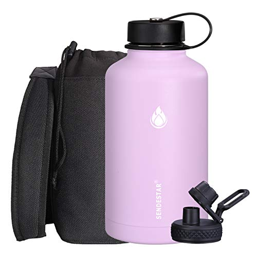 SENDESTAR 64 oz Water Bottle Double Wall Vacuum Insulated Leak Proof Stainless Steel Beer Growler +2 Lids—Wide Mouth with Flat Cap & Spout Lid Includes Water Bottle Pouch (Lilac)
