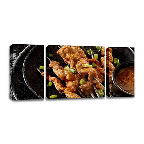 CCArtist Pork satay with Peanut Sauce no Pole Thais and Pictures Wall Decor Print on Canvas Modern Artwork Living Room Bedroom Painting Art Wall