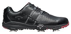 Callaway Men's Chev Mulligan Golf Shoes, Black (Black / Black / Crimson), 44.5 EU