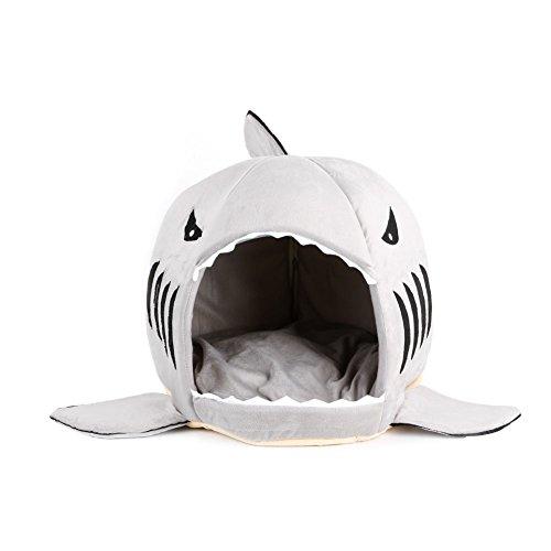 Koehope Stoff Hundehütten Kawaii Shark Mouth Teddy Hund Katze Haustierbett House mit Dach Doggy Puppy Warm Kennel Kissen Katzenklo Zwinger Pad