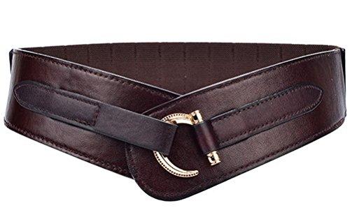Women Leather Belt Hook Designed Buckle Wide Waist Belt Elastic Stretch Waist Band, Coffee, Large