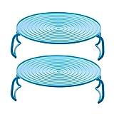 UPKOCH 2 Piezas de Rejillas de Cocina de Vapor Doble Capa Rejillas de Comida Al Vapor Soportes para Platos Al Vapor Microondas Canasta de Cocina Salvamanteles para El Hogar (Azul)