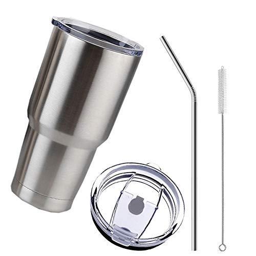 YBINGA Vaso de acero con tapa de pajita de 30 onzas de doble pared al vacío termo aislado taza de cerveza termo de beber café para aspiradora