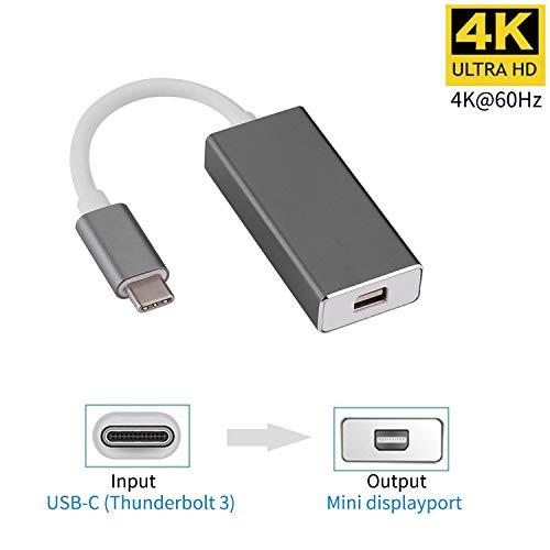 YMY 4K 60 Hz USB C a Mini displayport Adaptador usb3.1 C a Mini DP convertidor de Enchufe, Compatible con macbook, MacBook Pro, LED Cinema, DELL Monitor (Gris)