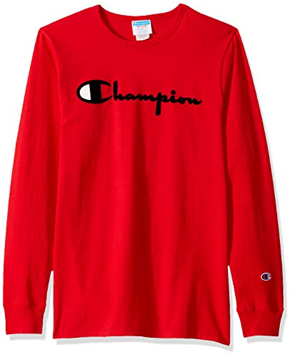 Champion LIFE Men's Heritage Long Sleeve T-Shirt, Team red Scarlet w/Big c Graphic, X Large