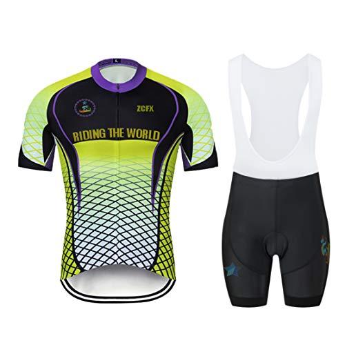 Maillot de Ciclismo para Hombre Maillot de Ciclismo de Manga Corta + Shorts de Tirantes Uniforme de Equipo de Ciclismo de Verano Conjunto de Ropa Deportiva al Aire Libre Código 4XL Color 503