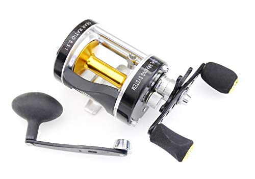 Ming Yang Reel MC600 Black Baitcasting Reel 6 BB Right Handed Saltwater Fishing Gear Ratio 5.3:1 Muskie Catfish Fishing, Conventional Casting Reel with Power Handle