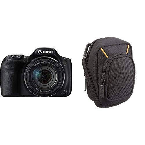 Canon PowerShot SX540 HS Digitalkamera (20,3 MPCMOS-Sensor, 50-Fach Ultrazoom, 100-fach ZoomPlus, WiFi, Full HD) schwarz & Amazon Basics Kameratasche für Kompaktkameras, groß