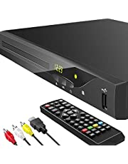 Blu Ray DVD Player, 1080P Home Theater Disc System, Play All DVDs and Region A 1 Blu-rays, Support Max 128G USB Flash Drive + HDMI / AV / Coaxial Output + Built-in PAL/NTSC with HDMI /AV Cable