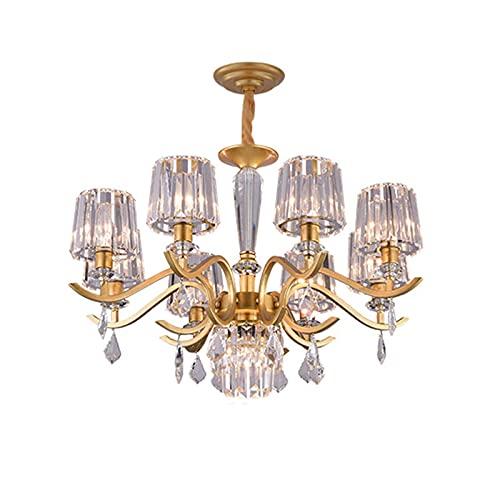 LLLKKK Lámpara de techo decorativa de cristal, ligera, lujosa, para salón, restaurante, dormitorio, lámpara de araña de cristal, 16 luces doradas