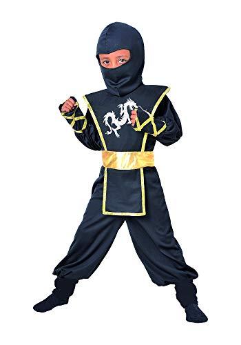 Cesar - Traje Ninja Disfraz Completo para nios de 5-7 aos, 116 cm, color negro y oro (F516-002)