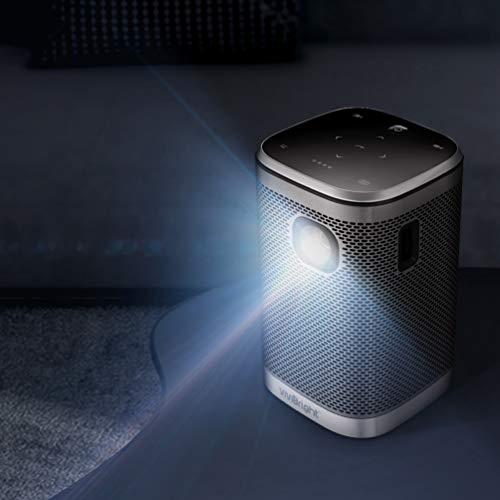 Mini WiFi Beamer, VIVIBRIGHT L2 mit synchronisiertem Smartphone-Bildschirm,Tragbarer Projektor mit 280 ANSI-Lumen und in Palm-Größe, Smart Pocket Cinema mit 10 W-Lautsprecher, DLP